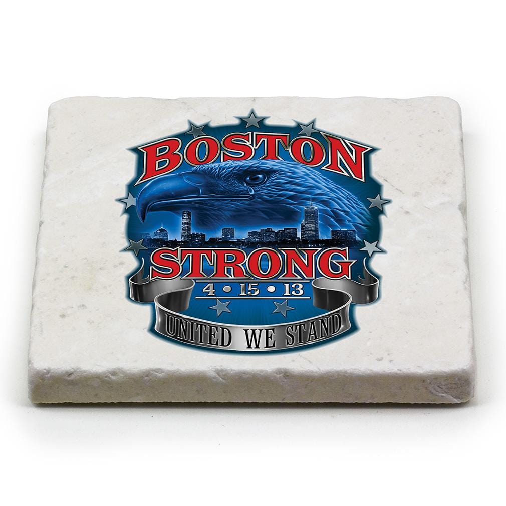 Patriotic Boston Strong Ivory Tumbled Marble 4IN x 4IN Coaster Gift Set