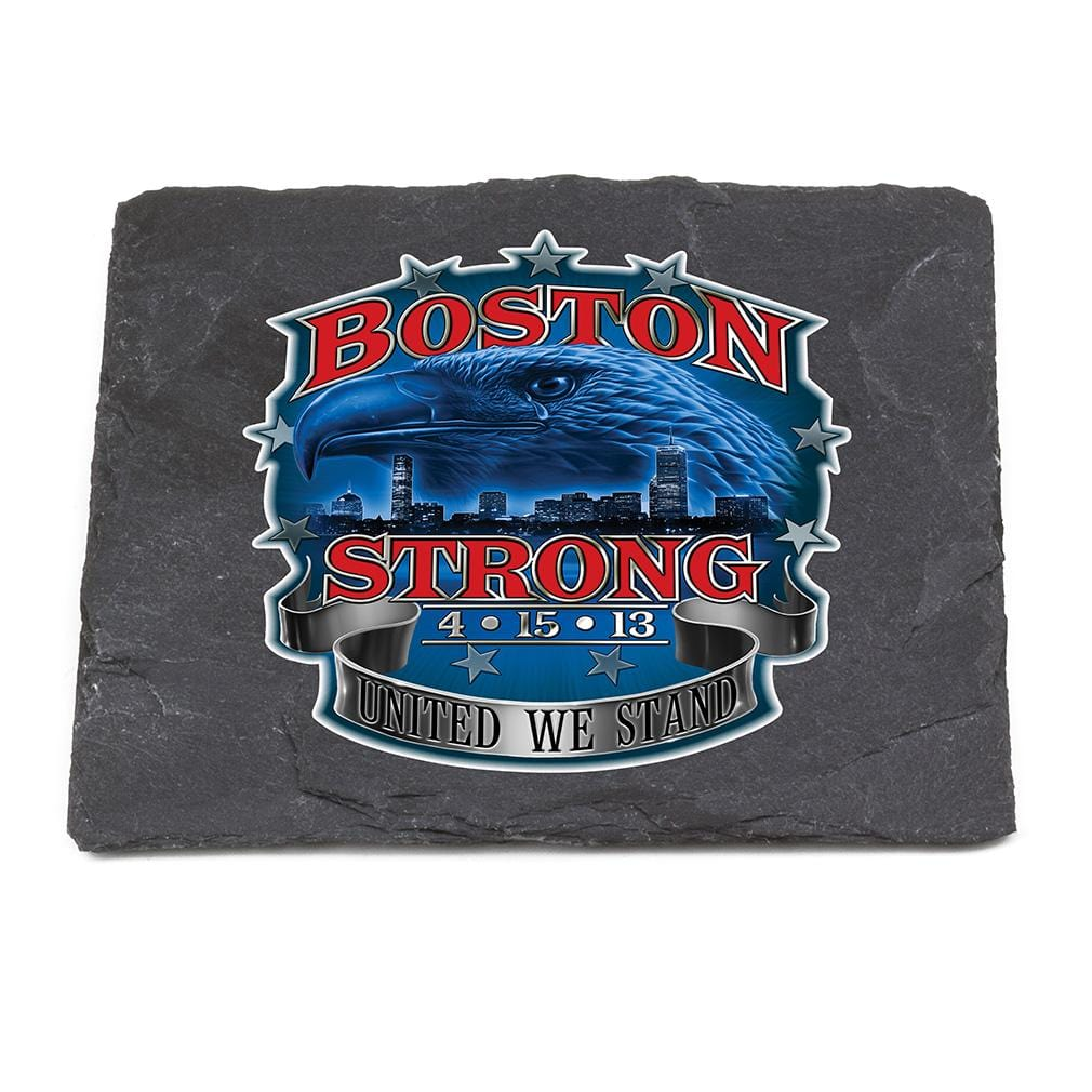 Patriotic Boston Strong Black Slate 4IN x 4IN Coaster Gift Set
