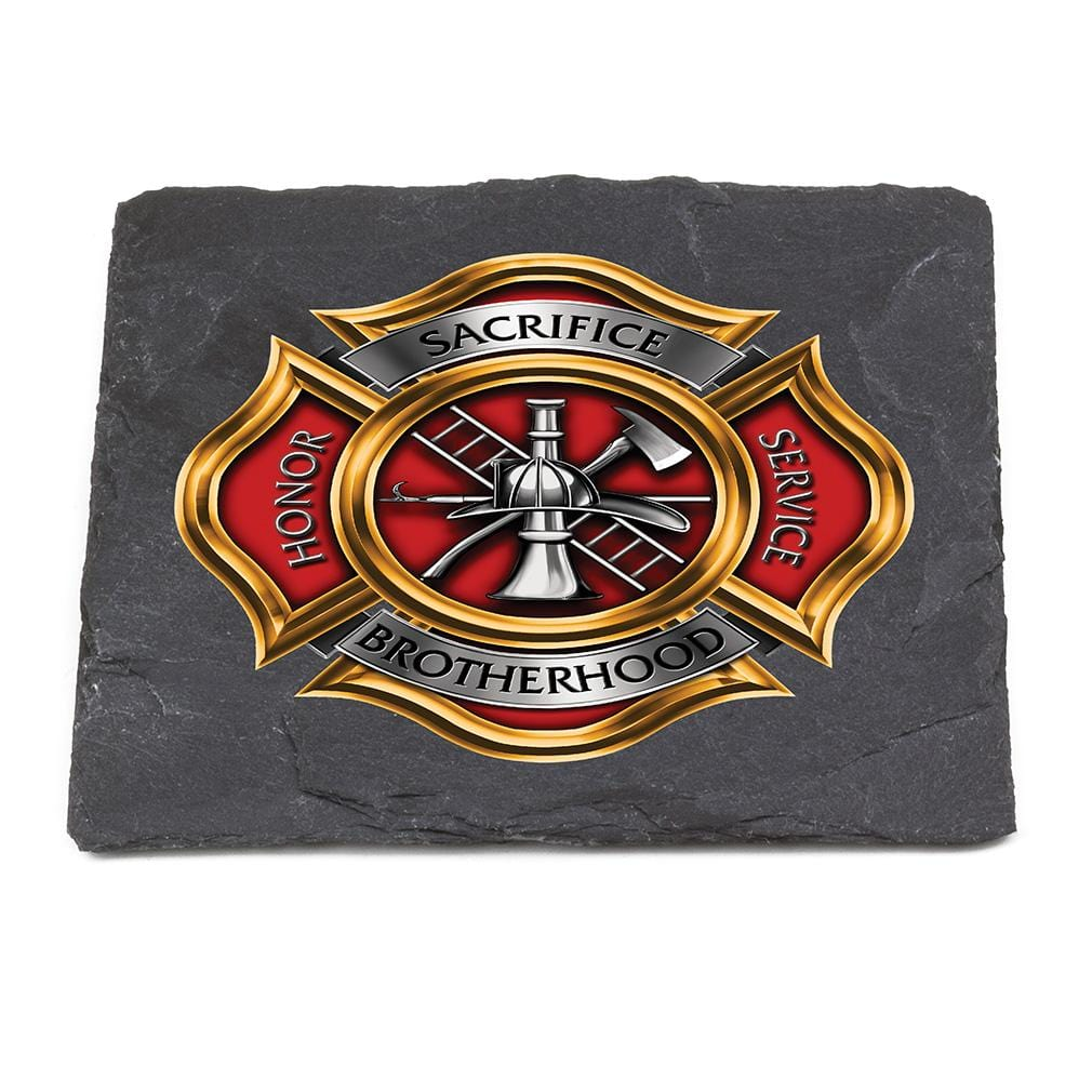 Firefighter Honor Service Sacrifice FF Brotherhood Black Slate 4IN x 4IN Coasters Gift Set