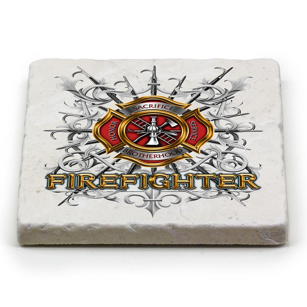 Firefighter Pikes Ivory Tumbled Marble 4IN x 4IN Coasters Gift Set