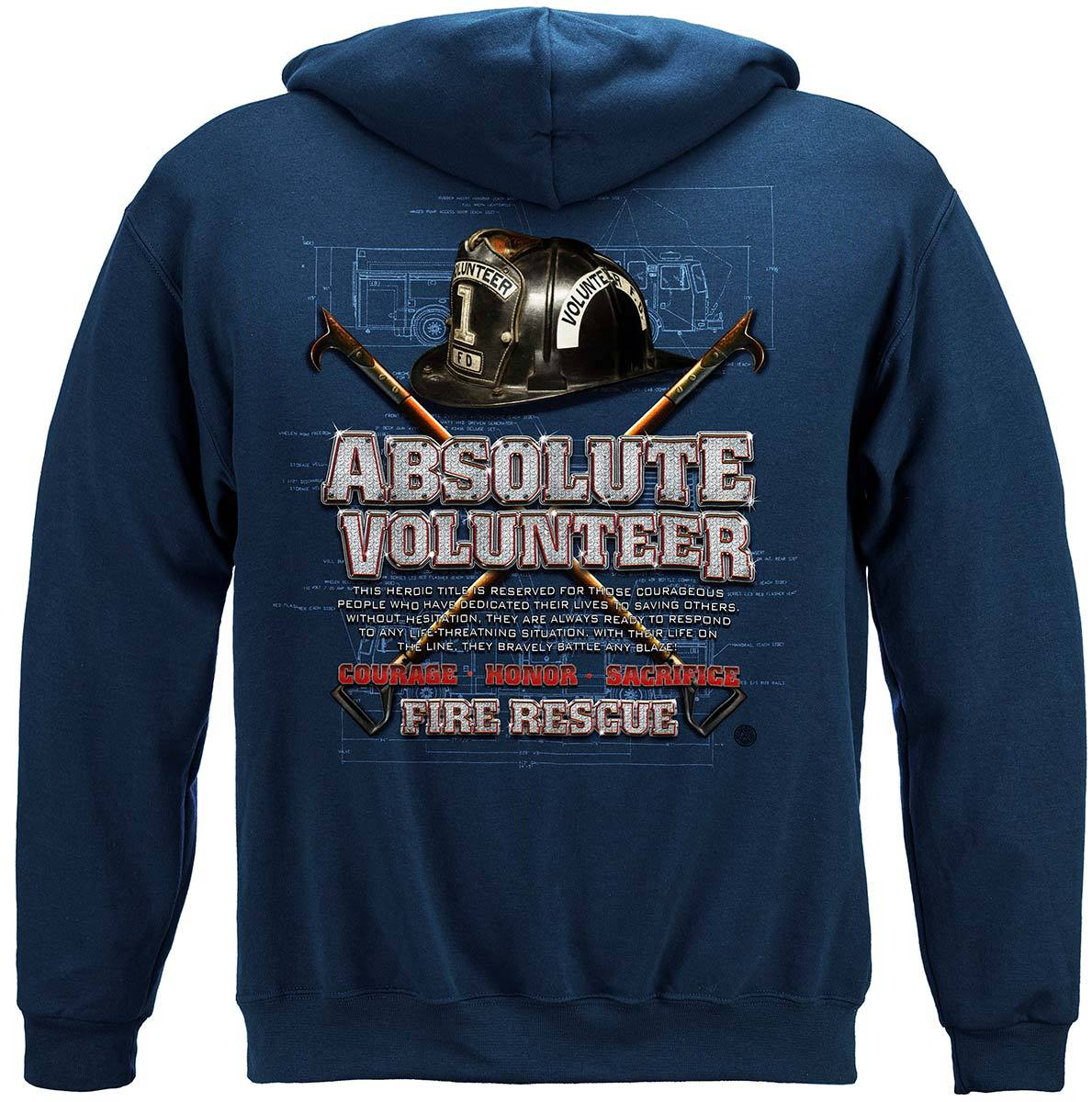 Absolute Volunteer Firefighter Blue Print Premium Hooded Sweat Shirt