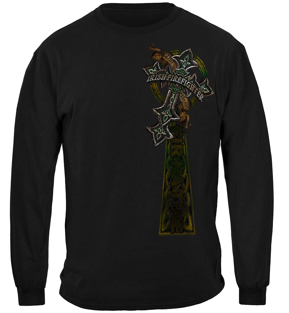 Firefighter Irish Celtic Cross Green Foil Premium Long Sleeves