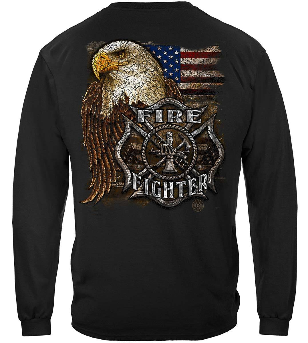 Firefighter Eagle And Flag Premium Long Sleeves