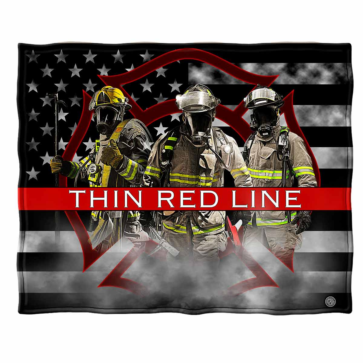 Firefighter American Flag Thin Red Line Premium Blanket