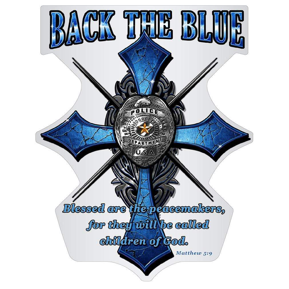 Back the Blue Matthew 5:9 Christian Shirt Premium Reflective Decal