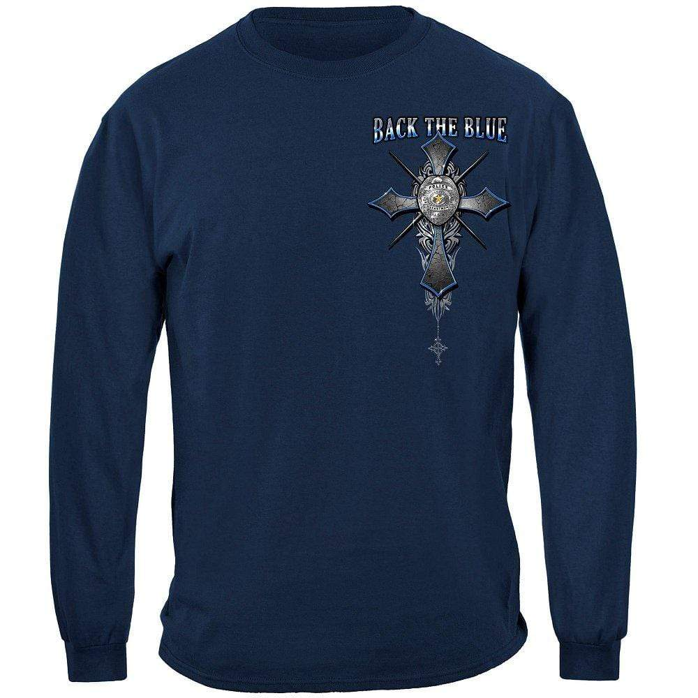 Back the Blue Matthew 5:9 Christian Shirt Premium Long Sleeves