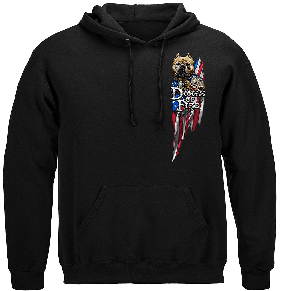 Firefighter Pit Bull Dog Tattoo American Flag Premium Long Sleeves