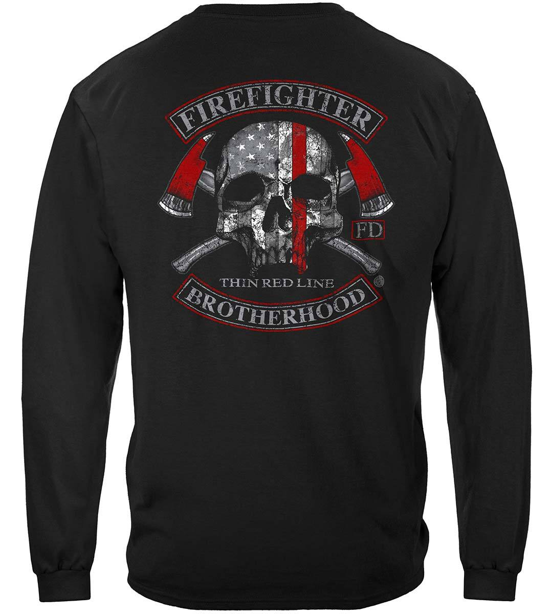 Firefighter Brotherhood Skull thin Red line Premium Long Sleeves