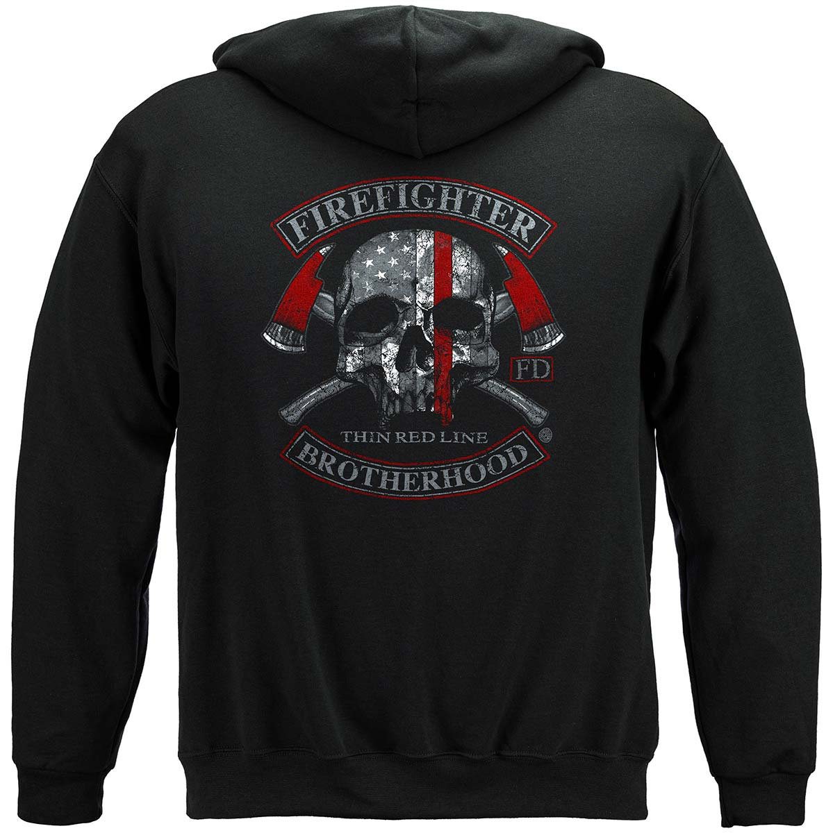 Firefighter Brotherhood Skull thin Red line Premium Hooded Sweat Shirt