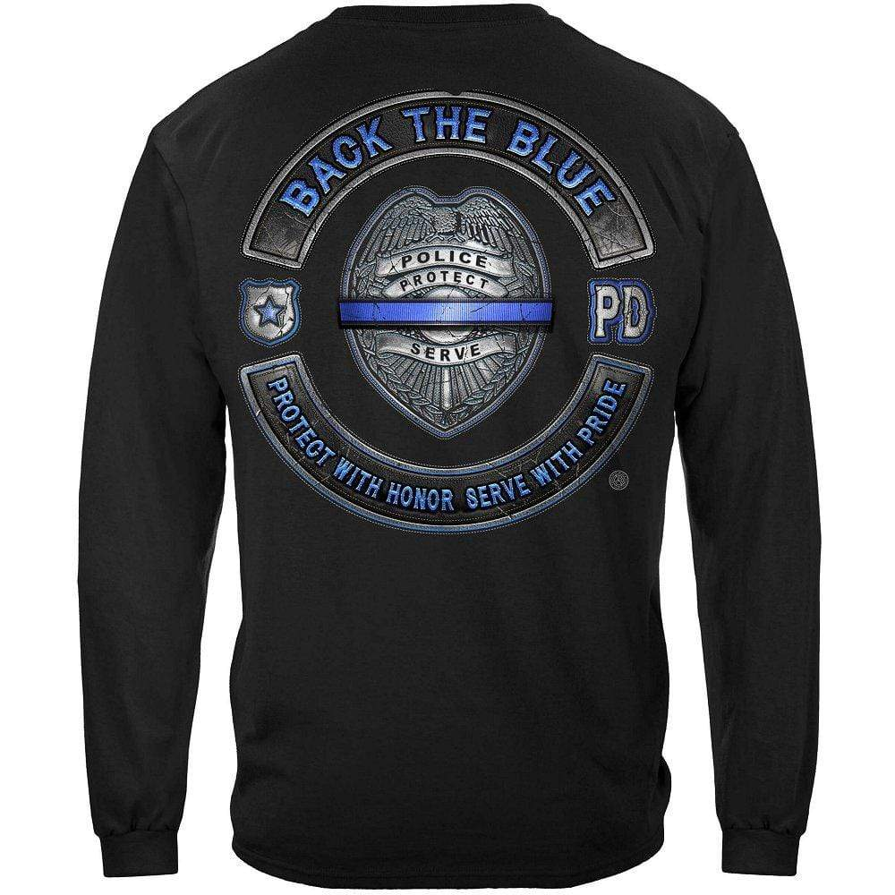 Back the Blue Law enforcement Blue lives Mater Serve and Protect Premium Hooded Sweat Shirt