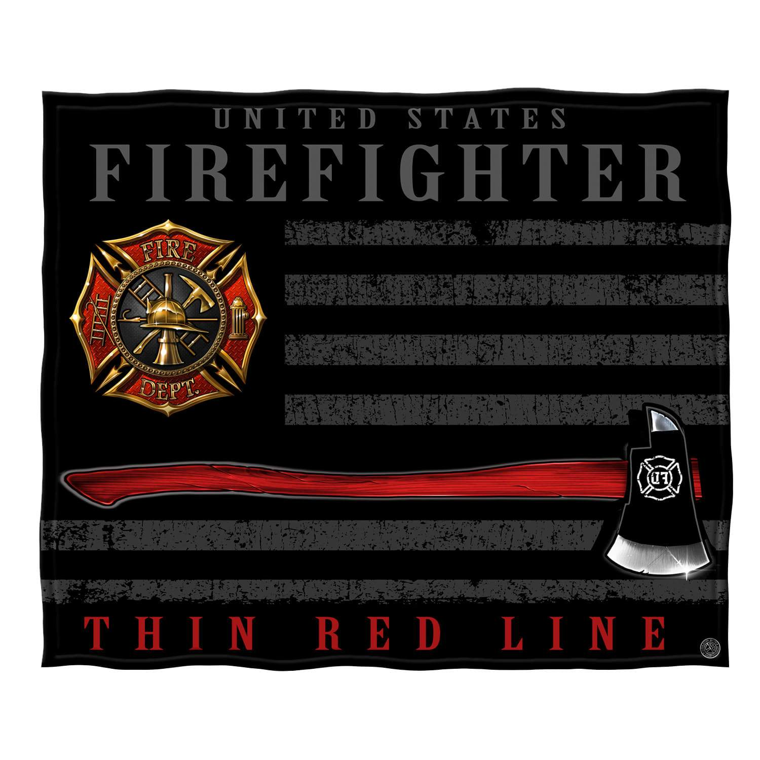 Firefighter Patriotic Flag Axe Premium Plush Blanket FF2443-TB