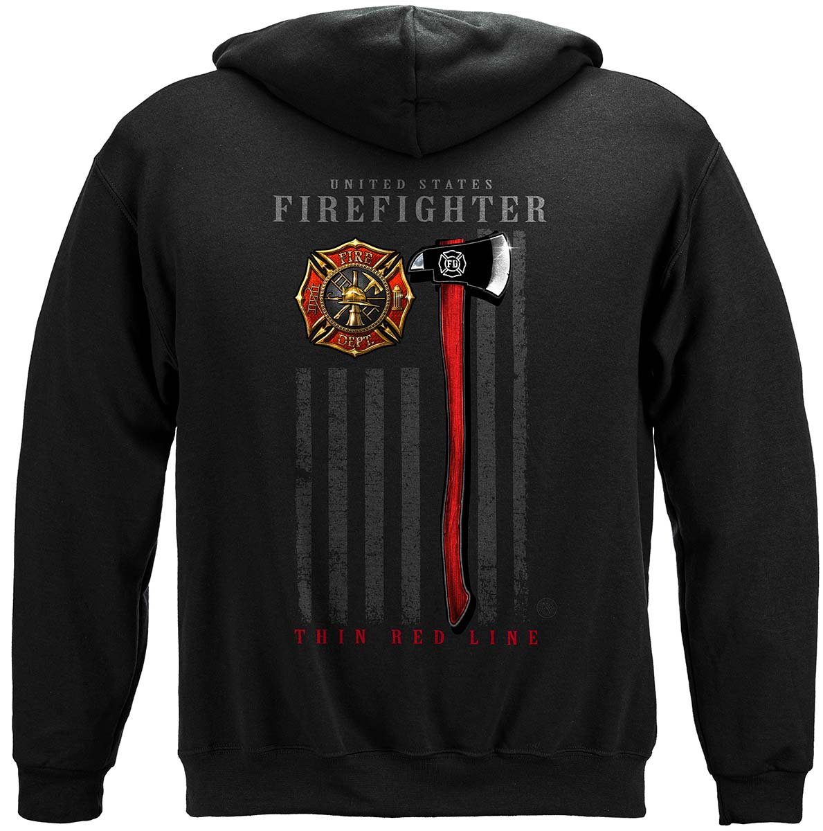 Firefighter Patriotic Flag Axe Premium Hooded Sweat Shirt