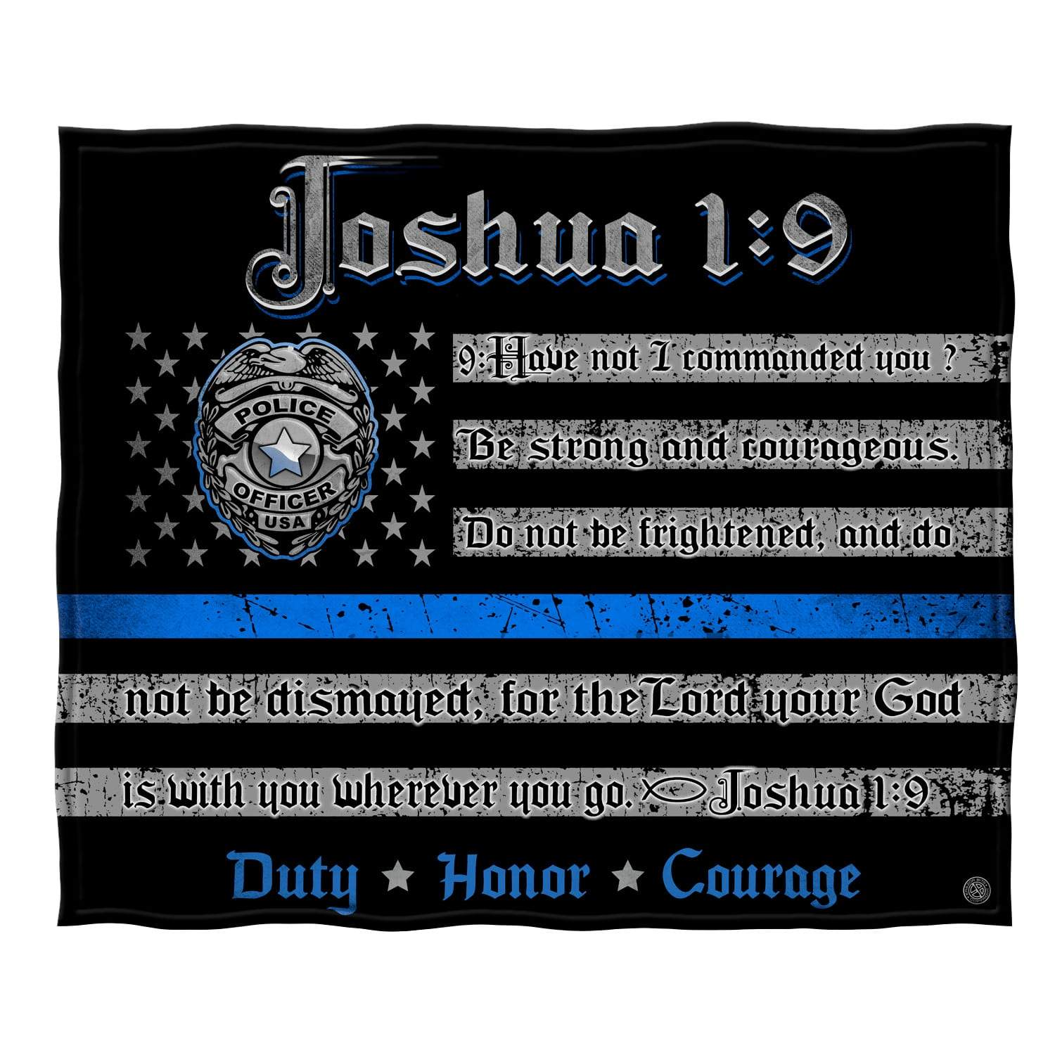 Law Enforcement Joshua 1 9 Premium Plush Blanket FF2490-TB