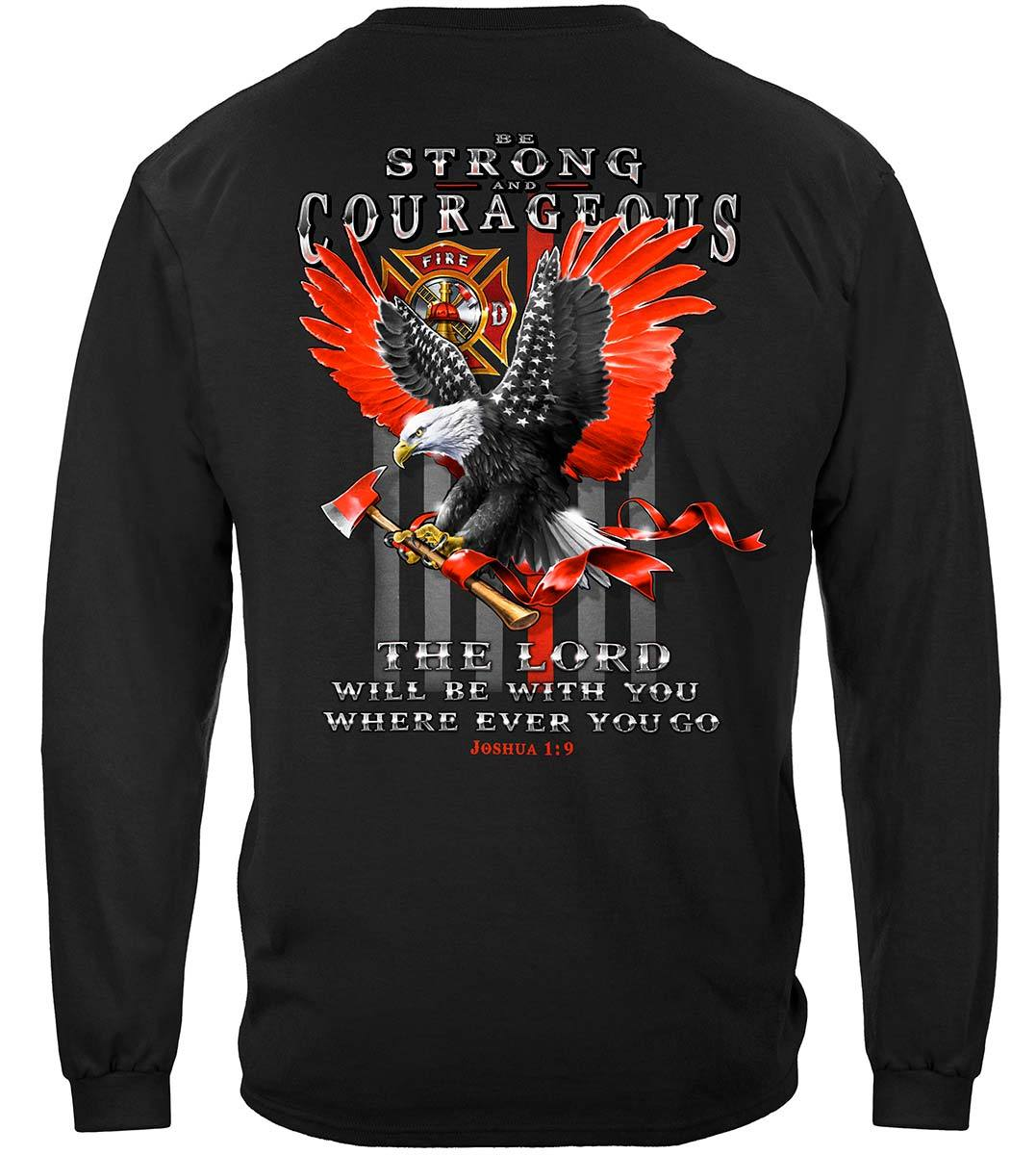 Firefighter Eagle Flag Red Line Premium Long Sleeves