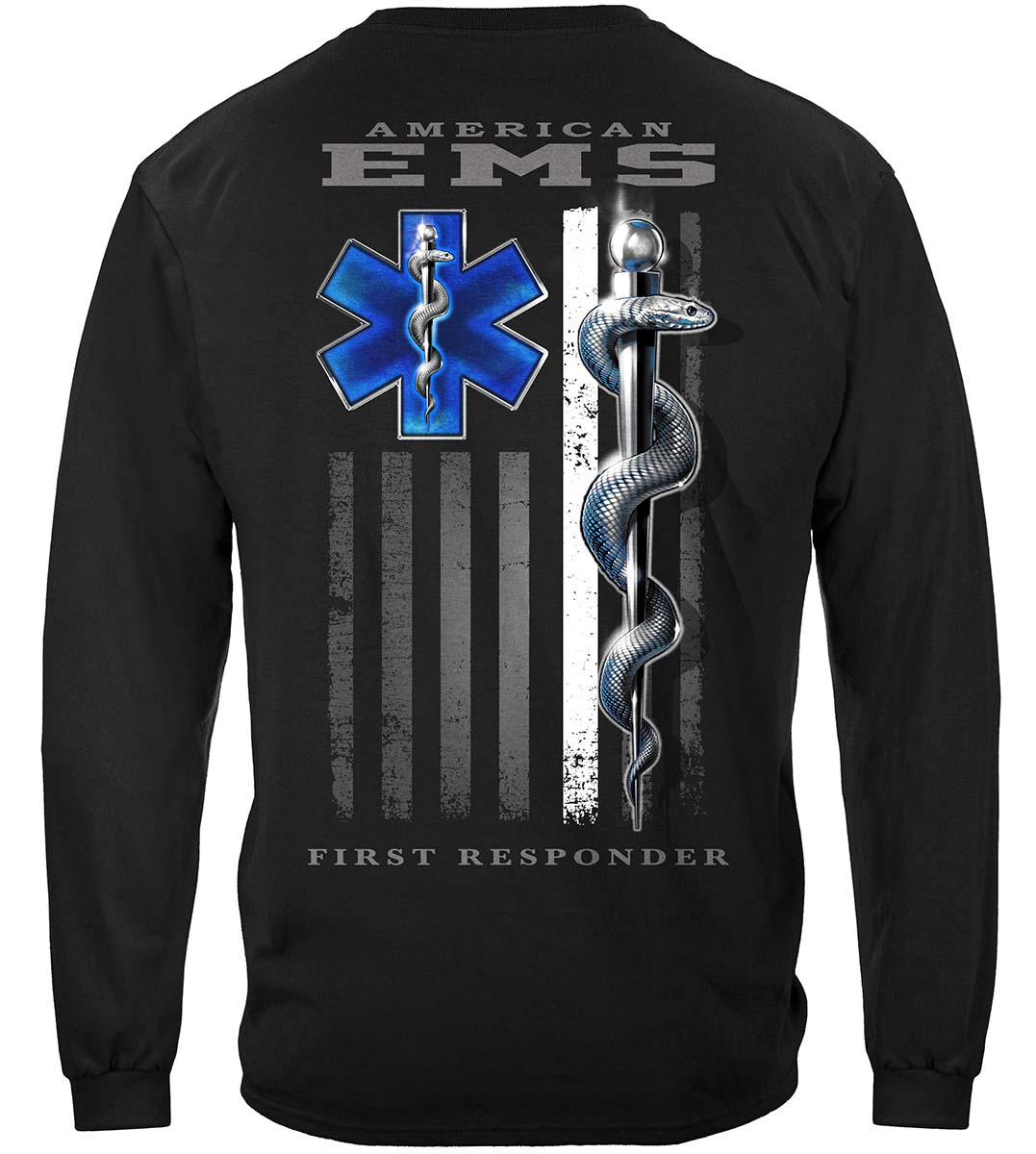 American EMS First Responder Ghost Flag Premium Long Sleeves