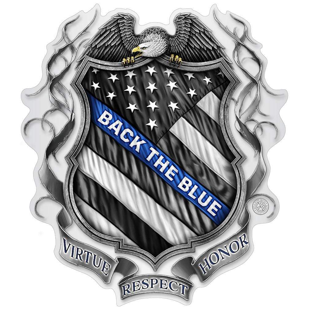 Law enforcement Back the Blue Virtue Respect Honor Premium Reflective Decal
