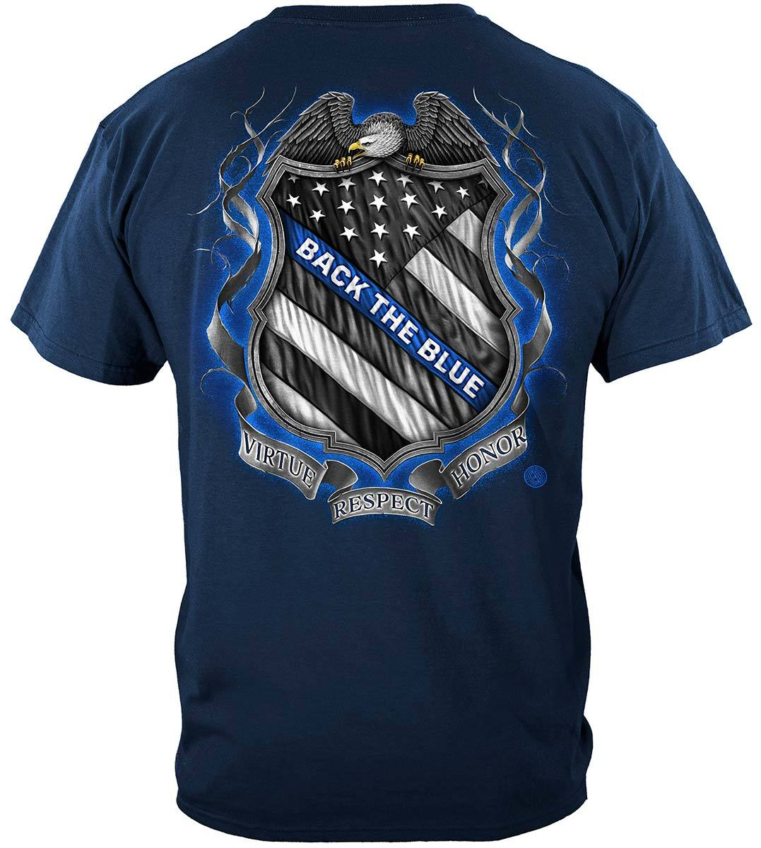 Law enforcement Back the Blue Virtue Respect Honor Premium T-Shirt