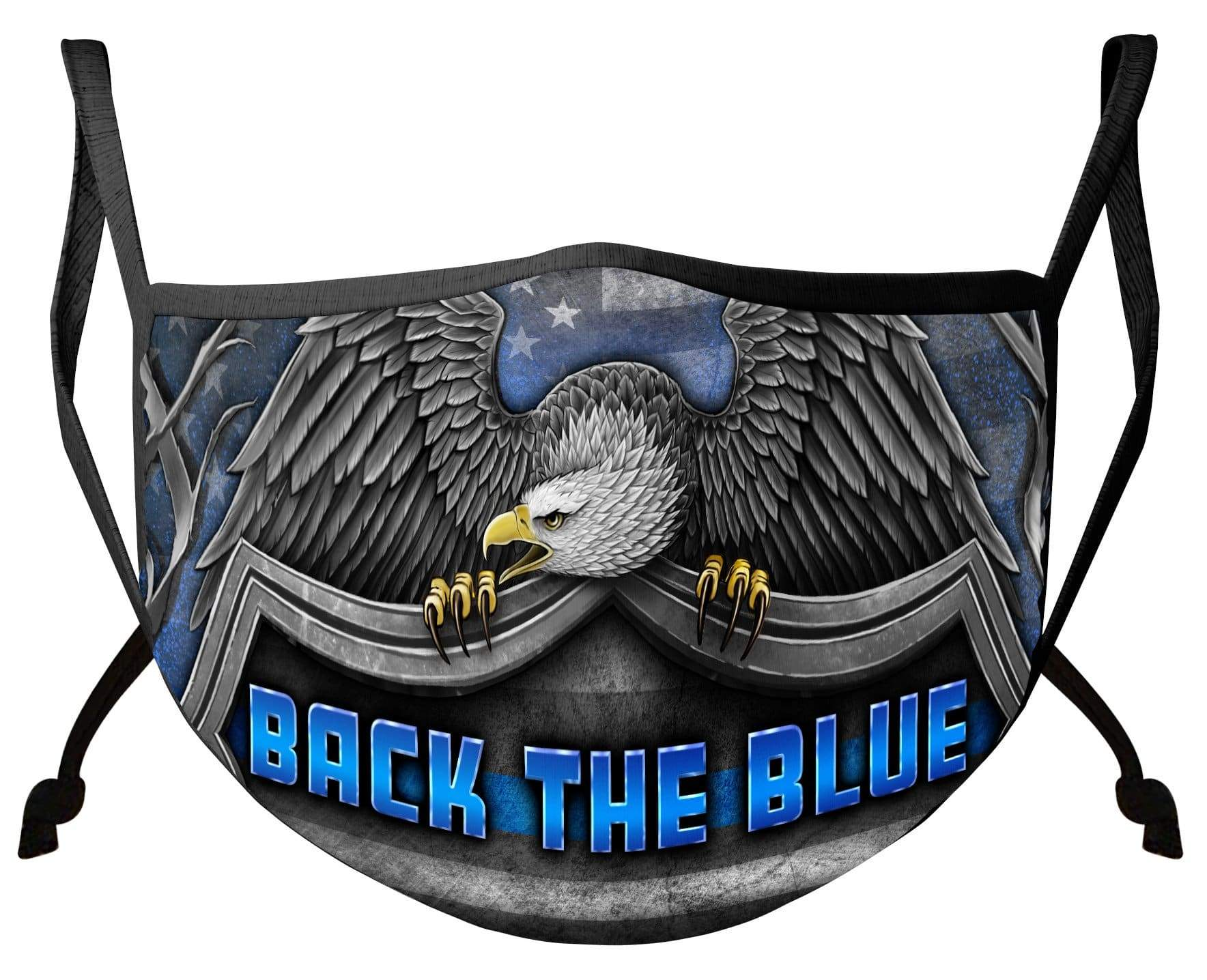 Law Enforcement Back the Blue Virtue Respect Honor Face Mask