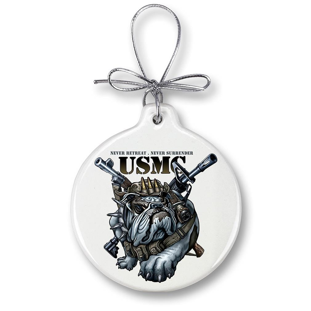 USMC Marine Corps Never Retreat Never Surrender Christmas Tree Ornaments