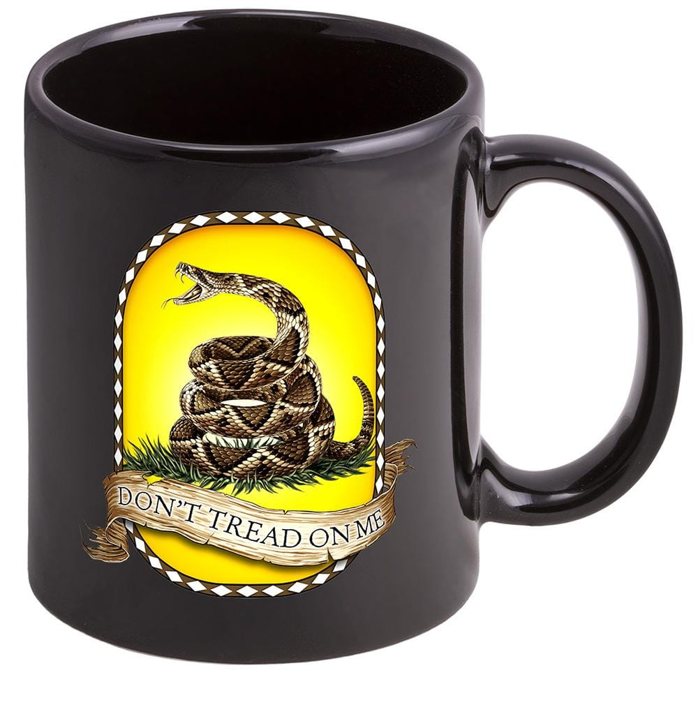 Patriotic Don't Tread on Me Stoneware Black Coffee Mug Gift Set