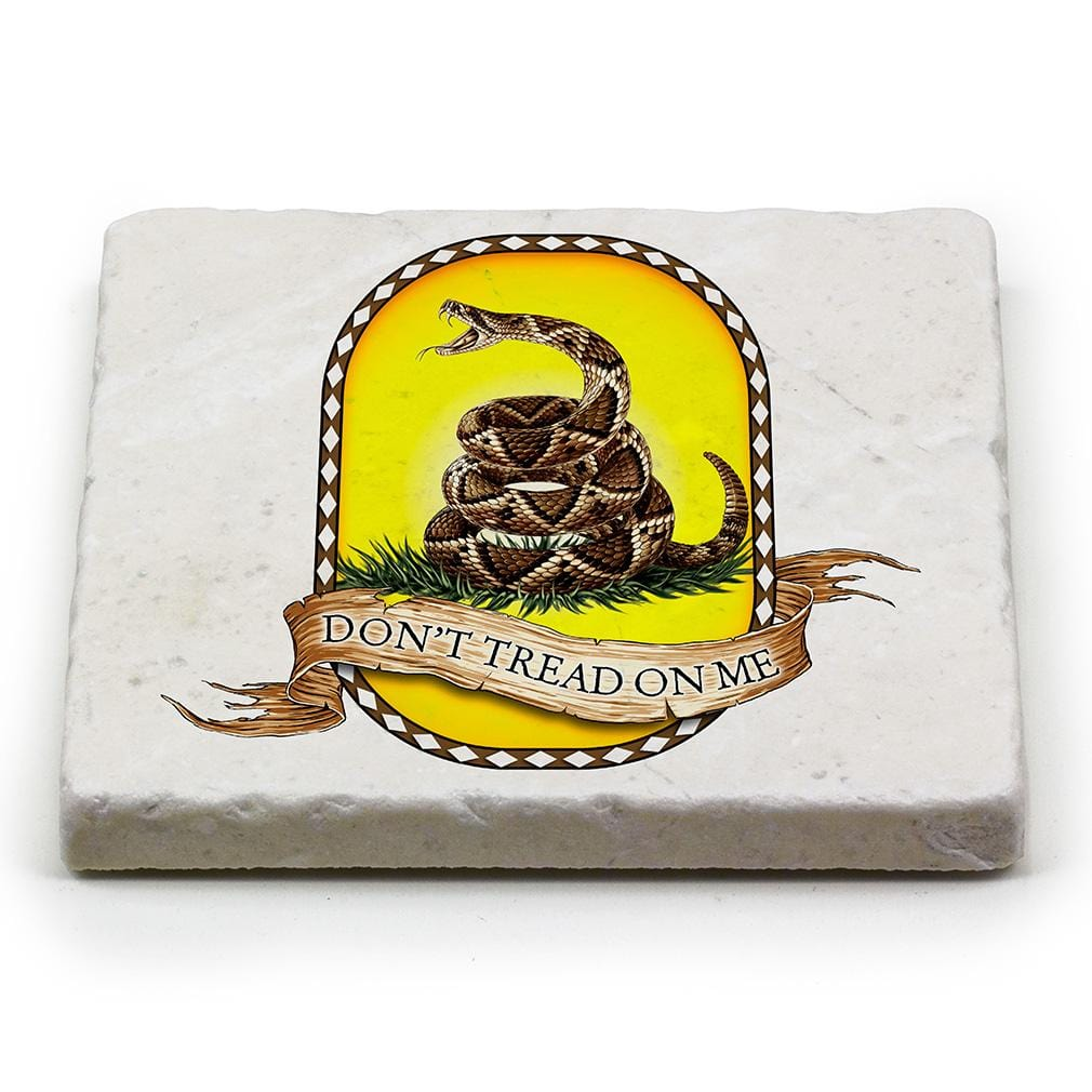 Patriotic Dont Tread on Me Ivory Tumbled Marble 4IN x 4IN Coaster Gift Set