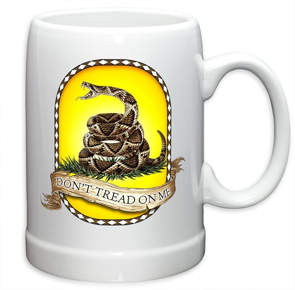 Patriotic Don't Tread on Me Stoneware White Coffee Mug Gift Set