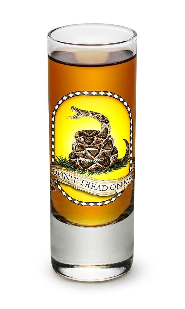 Don't tread on me Patriotic Gadsen Flag 2oz Shooter Shot Glass Glass Set