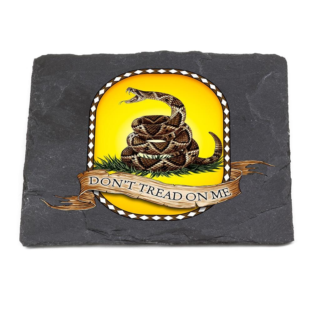 Patriotic Dont Tread on Me Black Slate 4IN x 4IN Coaster Gift Set