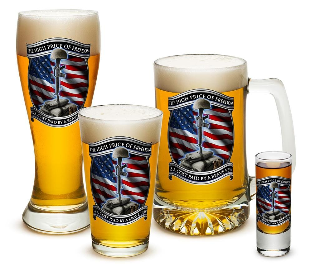 High Price of Freedom Patriotic US Flag 4 Piece Glass Gift Set