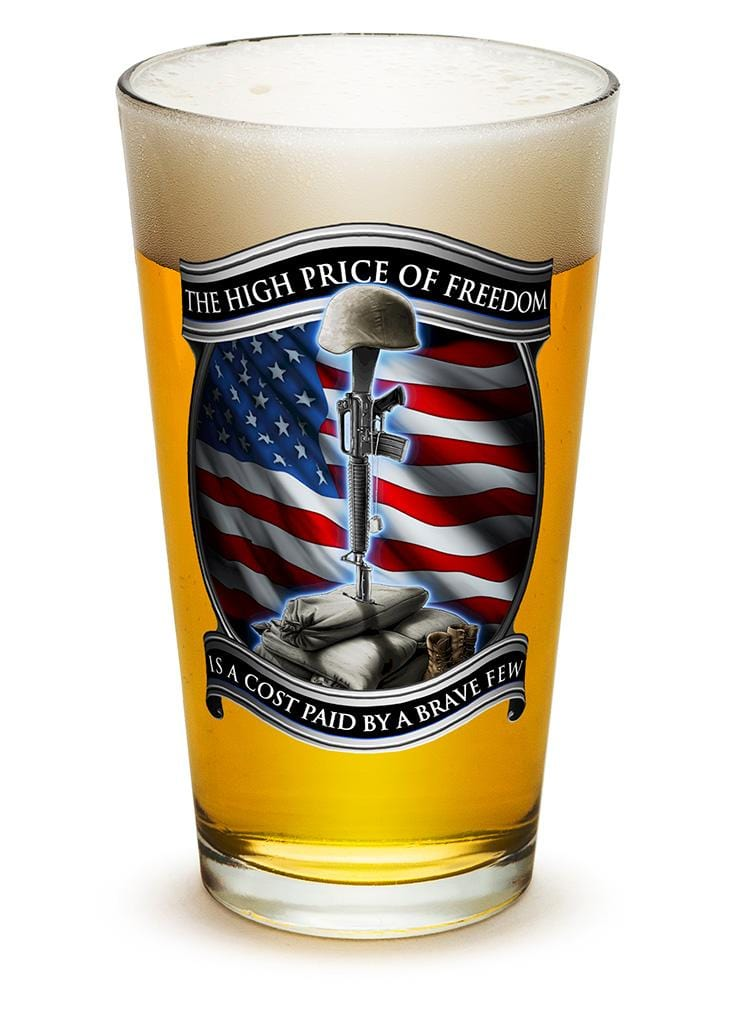 High Price Of Freedom Patriotic US Flag 16oz Pint Glass Glass Set