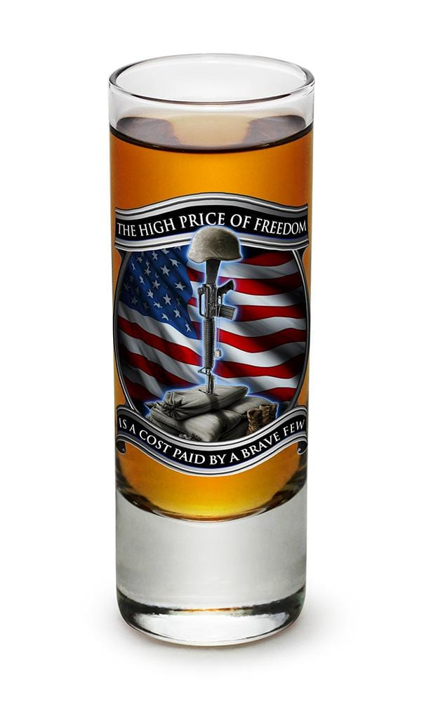 High Price Of Freedom Patriotic US Flag 2oz Shooter Shot Glass Glass Set