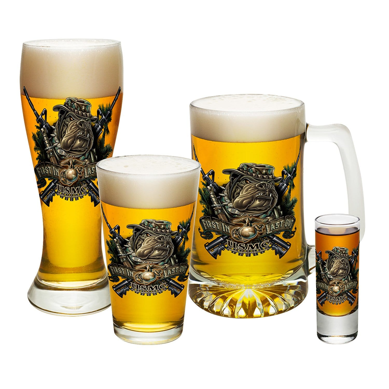Marine Devil Dog First In Last Out 4 PC. Glass Set