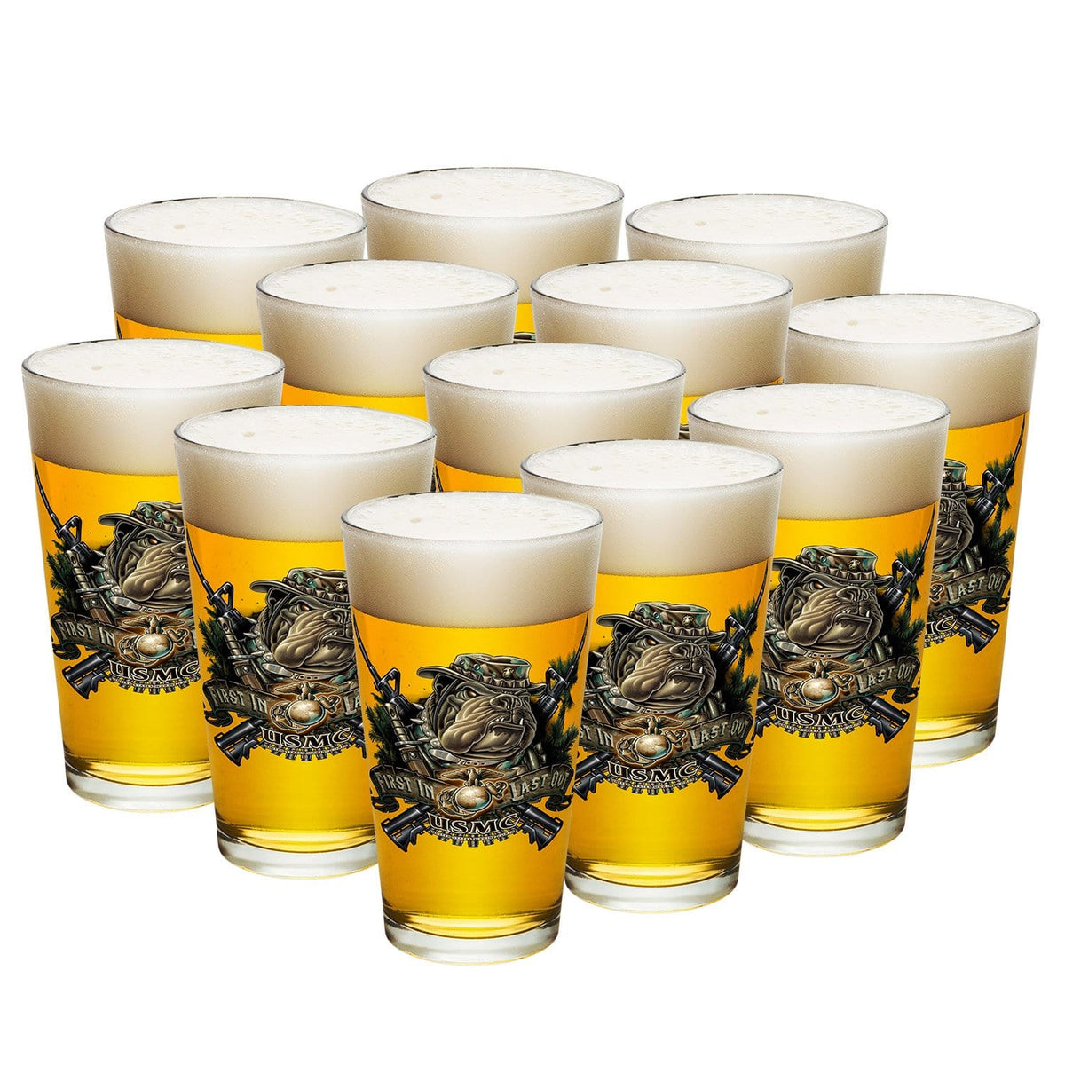 Marine Devil Dog First In Last Out Pint Glass