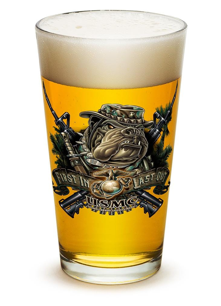 USMC Marine Corps devil dog First in last out 16oz Pint Glass Glass Set