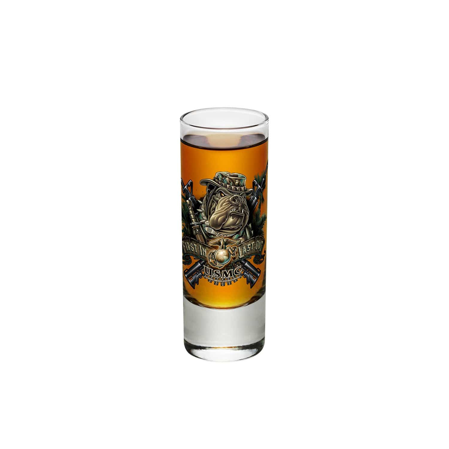Marine Devil Dog First In Last Out Shot Glass