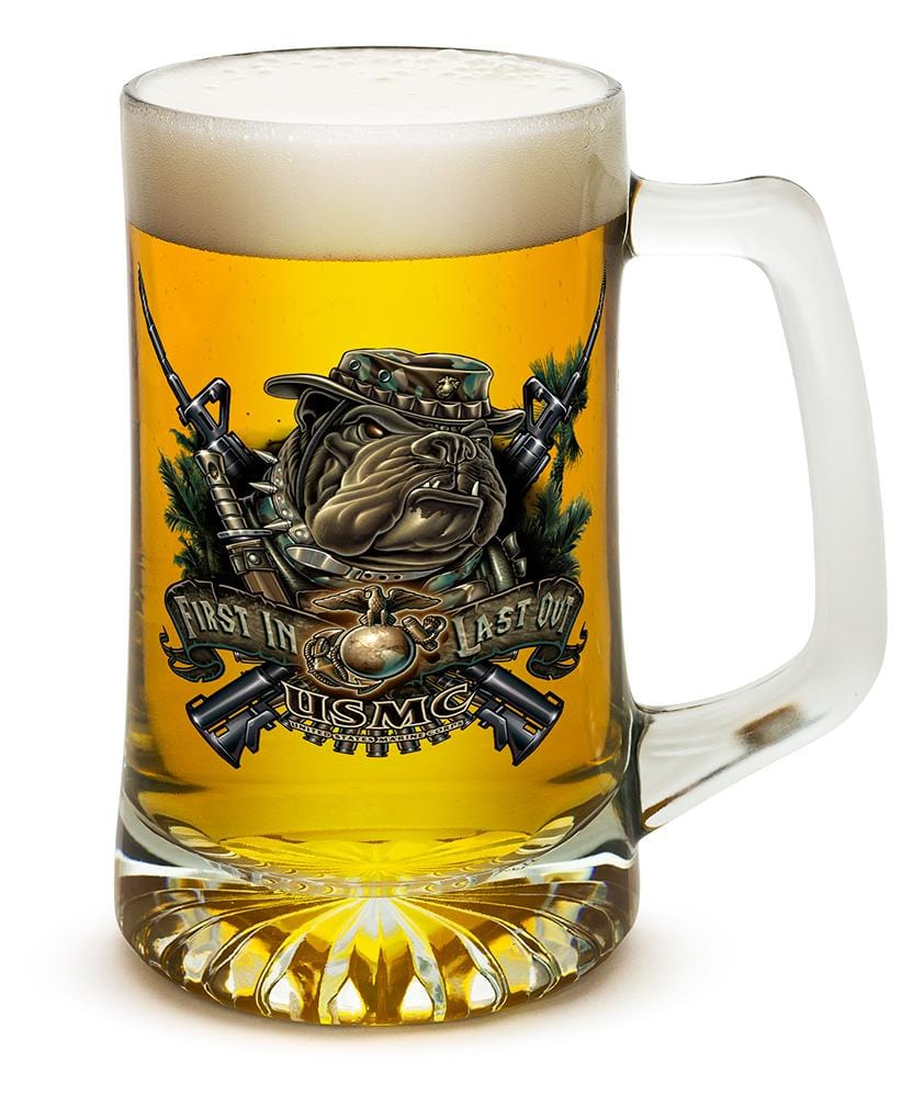 USMC Marine Corps devil dog First in last out 25oz Tankard Glass Set