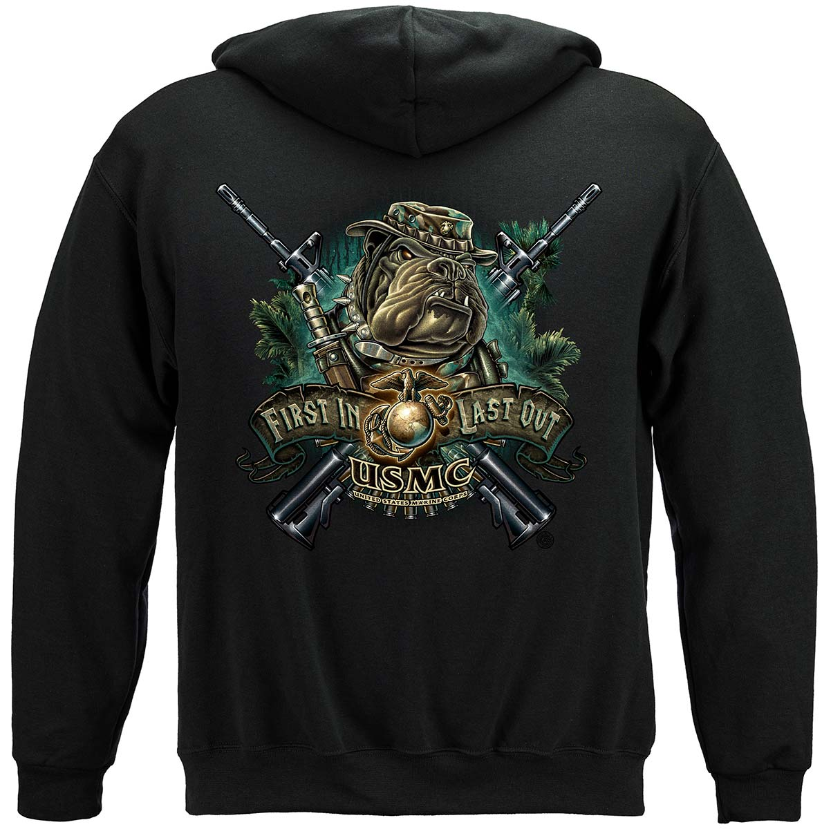 Marine Devil Dog First In Last Out Premium Hooded Sweat Shirt