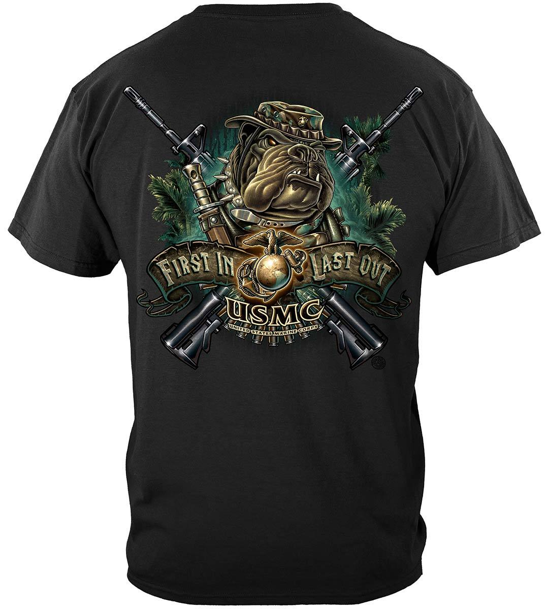Marine Devil Dog First In Last Out Premium T-Shirt