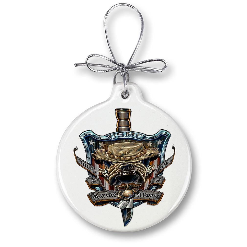 USMC Marine Corps Once And Always A Marine Christmas Tree Ornaments