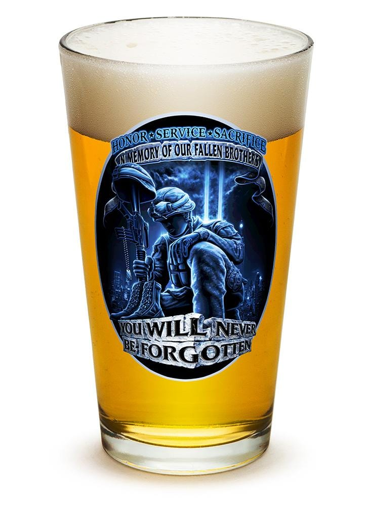 You Will Never Be Forgotten Patriotic Soliders 16oz Pint Glass Glass Set