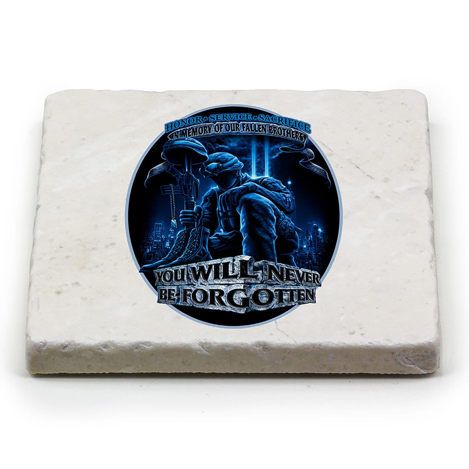 Soldier You Will Never Be Forgotten Coaster Ivory