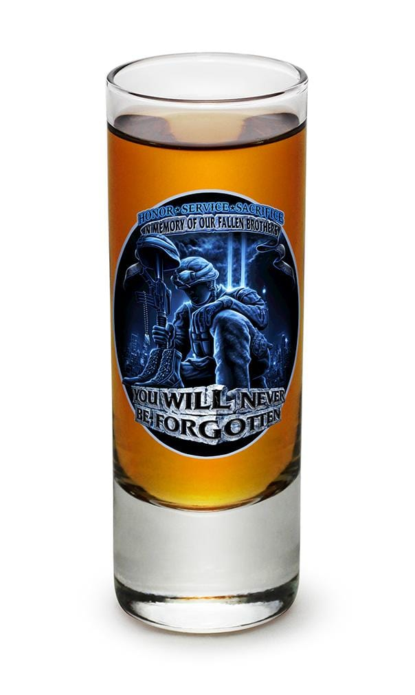 You Will Never Be Forgotten Patriotic Soliders 2oz Shooter Shot Glass Glass Set