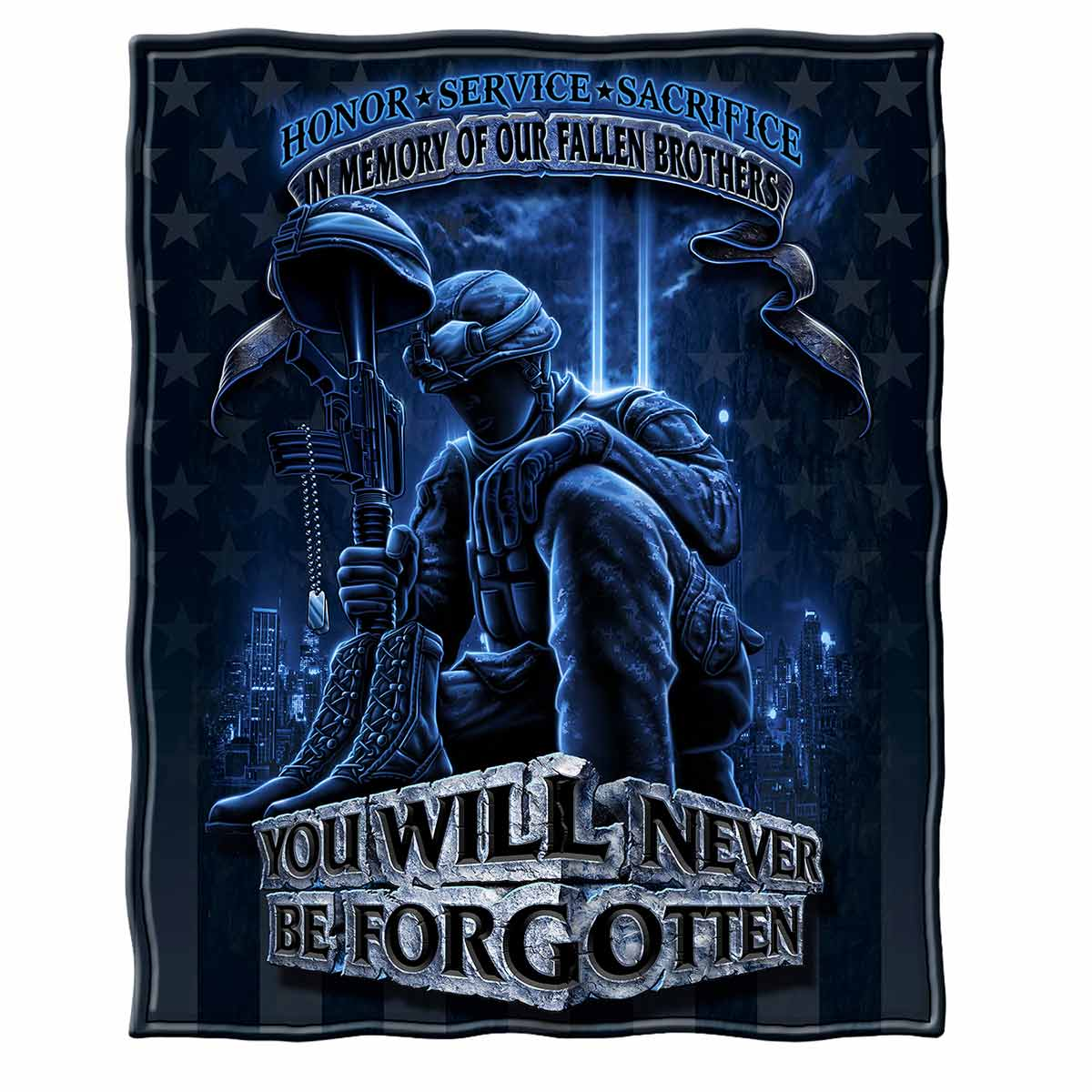 Never Forget Fallen Soldier Premium Blanket