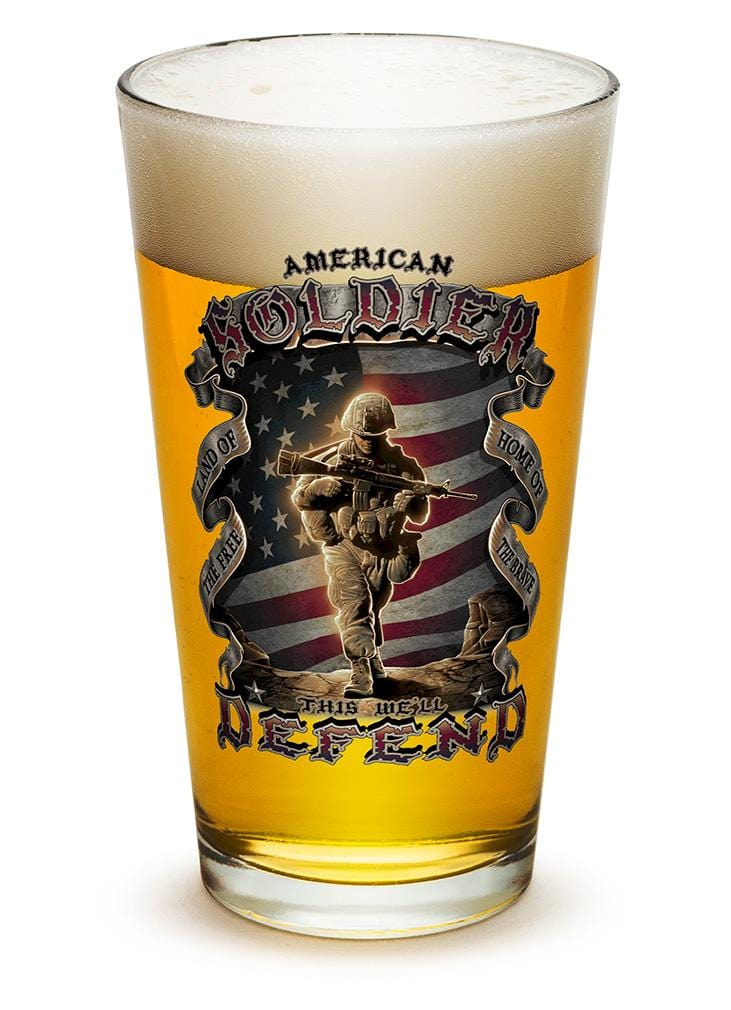 American Soldier Patriotic 16oz Pint Glass Glass Set