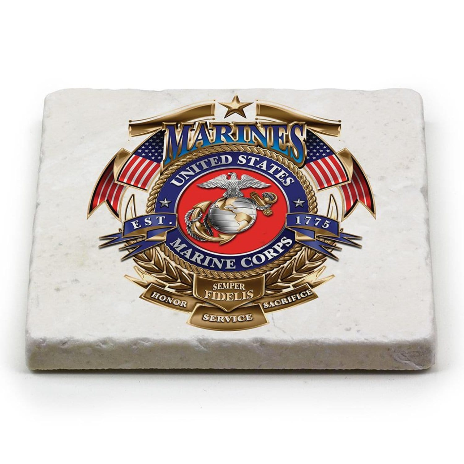 USMC Badge Of Honor Coaster Ivory