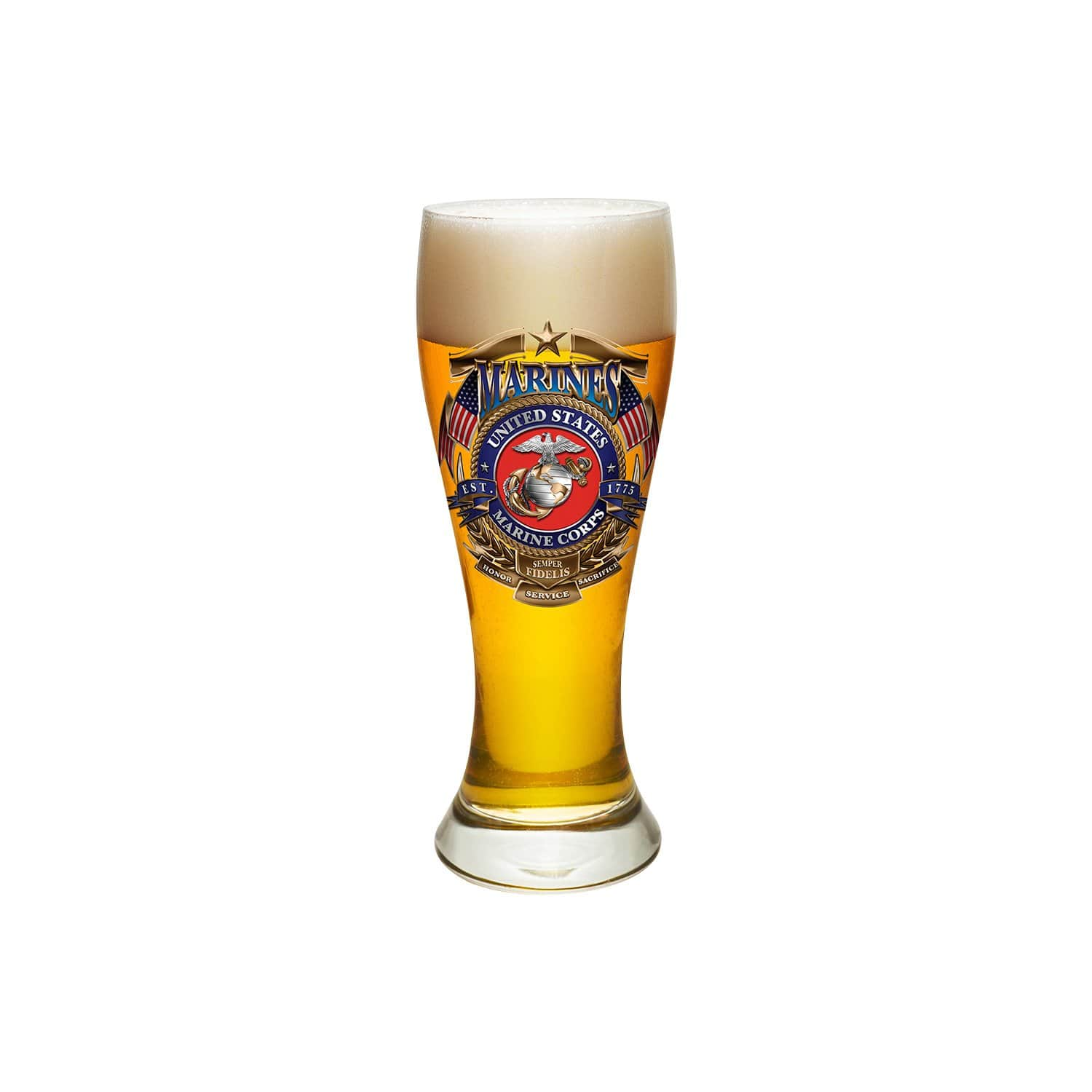 USMC Badge Of Honor Pilsner Glass