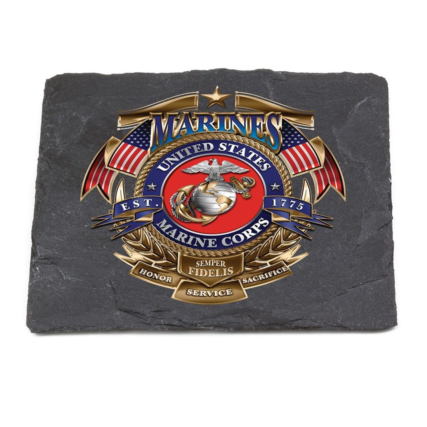 USMC Badge Of Honor Coaster Black
