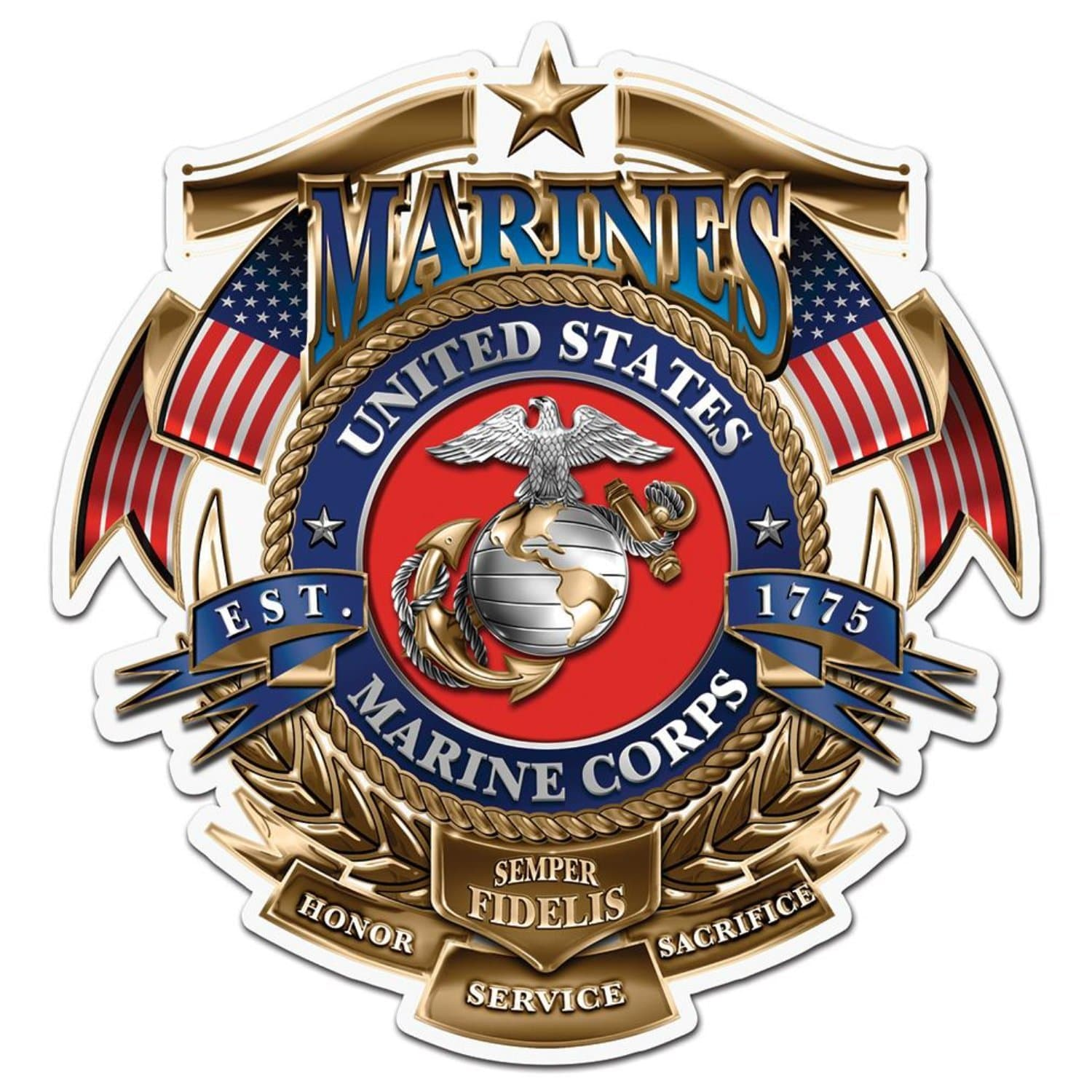 USMC Badge Of Honor Reflective Decal