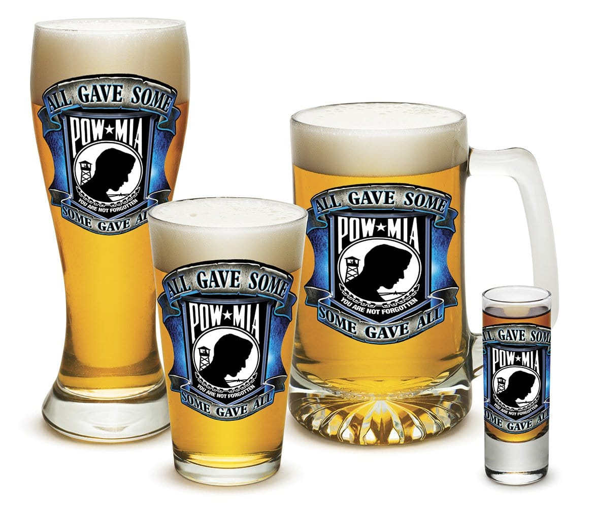 American POW MIA Patriotic Some Gave All Soliders Veterans 4 Piece Glass Gift Set
