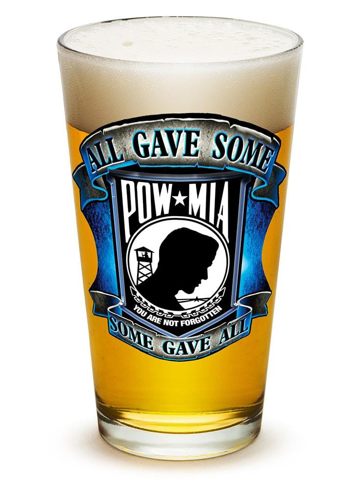 American POW MIA Patriotic Some Gave All Soliders Veterans 16oz Pint Glass Glass Set